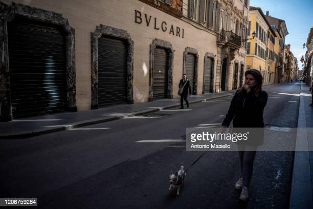 Bulgari shop closed in Via del Corso during the Coronavirus emergency, on March 12 in Rome, Italy. The Italian Government has taken the unprecedented...