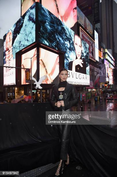 Bulgari unveils new Bzero1 jewelry campaign with Bella Hadid at Times Square on February 7 2018 in New York City