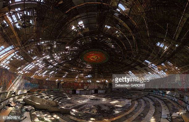 Bulgaria, Central Mountains, Ruins of Soviet-era Buzludzha Monument