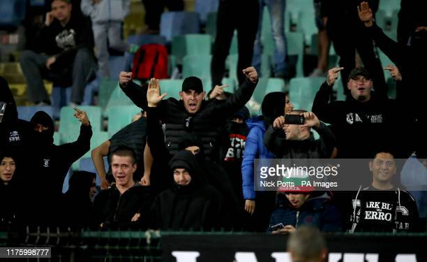 Bulgaria fans in the stands during the UEFA Euro 2020 Qualifying match at the Vasil Levski National Stadium, Sofia, Bulgaria.