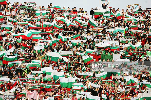 Bulgaria fans prior to the Group 8 World Cup Qualifying match between Bulgaria and Sweden at the National stadium Vassil Levski on March 26 2005 in...
