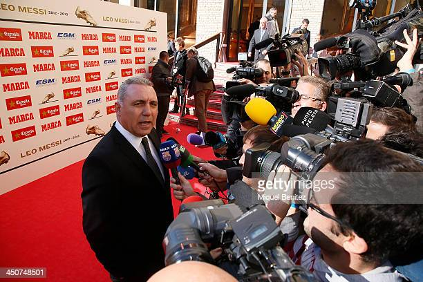 Bulgaria former football player Hristo Stoichkov attends the Golden Boot 2013 award presented to Europes best goal scorer for Lionel Messi of the...