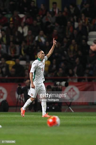 Bulgaria forward Marcelinho celebrates scoring Bulgaria goal during the match between Portugal and Bulgaria Friendly International at Estadio...