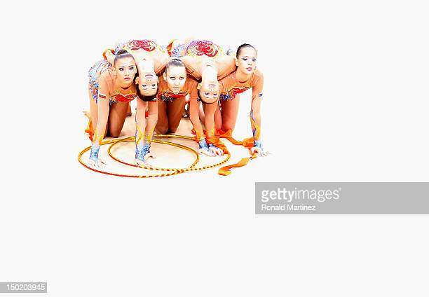 Bulgaria perform during the Group AllAround Rhythmic Gymnastics Final Rotation 2 on Day 16 of the London 2012 Olympic Games at Wembley Arena on...