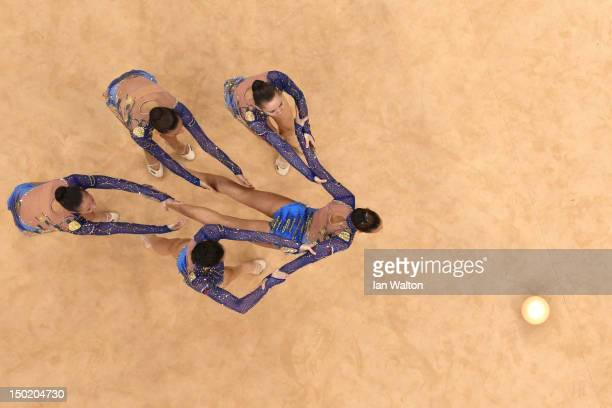Bulgaria perform with the ball during the Group AllAround Rhythmic Gymnastics Final Rotation on Day 16 of the London 2012 Olympic Games at Wembley...