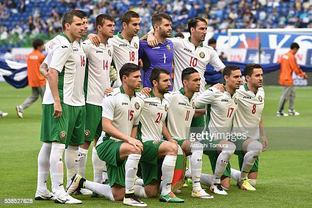 Bulgaria players line up for the team photos prior to the international friendly match between Denmark and Bulgaria at the Suita City Football...