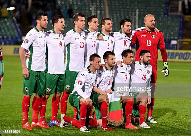 Bulgaria poses prior to the Euro 2016 Qualifier match between Bulgaria and Italy at Vasil Levski National Stadium on March 28 2015 in Sofia Bulgaria