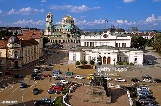 Bulgaria Sofia Liberation Monument Bulgarian Parliament Building Science Academy and Alexander Nevsky Cathedral
