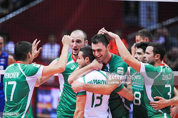 Bulgaria team celebrate after winning a point during the FIVB World Championships match between Russia and Bulgaria on September 7 2014 in Gdansk...