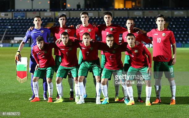 Bulgaria U19 team group photo during the U19 International match between England and Bulgaria at Adams Park on October 10 2016 in High Wycombe England
