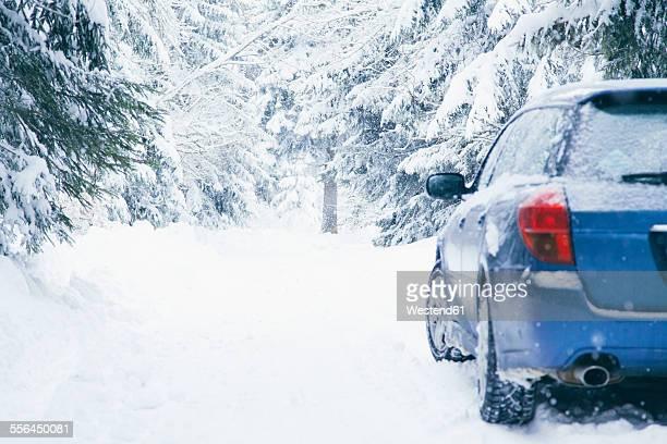 Bulgaria, Vitosha, car on a snowy road