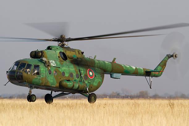 A Bulgarian Air Force Mil Mi-17 landing at Plovdiv Airport, Bulgaria.