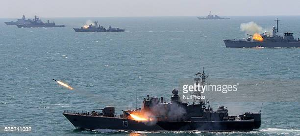 Bulgarian and NATO navi ships take part during Bulgarian-NATO military navy exercise in the Black sea, east of the Bulgarian capital Sofia, Friday,...