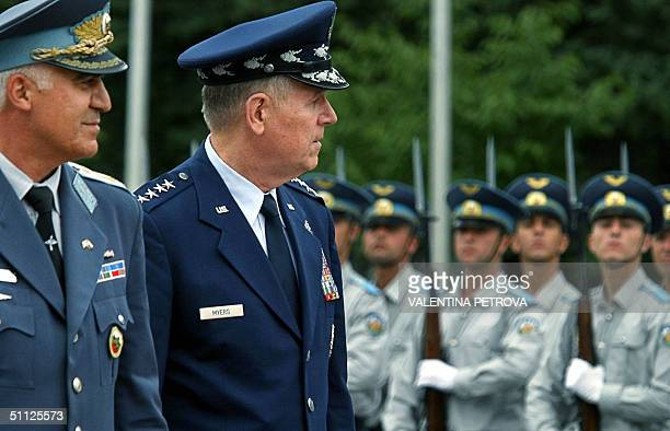 Bulgarian Army Chief of Staff General Nikola Kolev and U.S. Joint Chief of Staff General Richard B. Myers review the Bulgarian honour guards during a...
