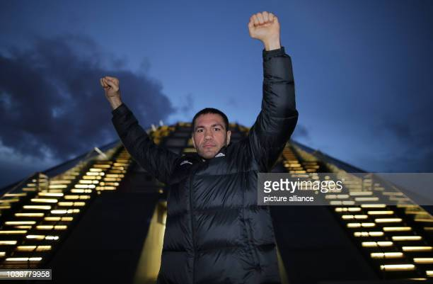 Bulgarian boxer Kubrat Pulev poses after a media training session in front of the Dockland building inHamburg Germany 01 December 2015 Germany's...