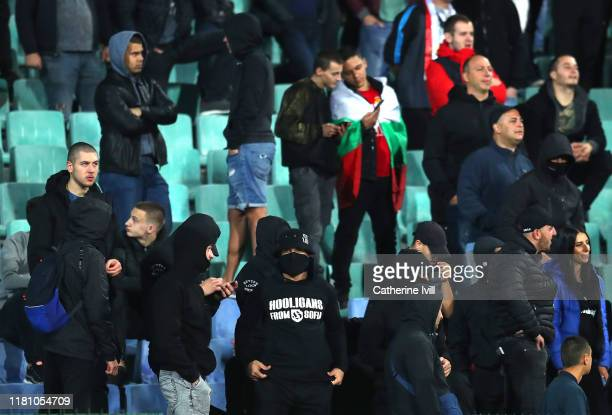 Bulgarian fans during the UEFA Euro 2020 qualifier between Bulgaria and England on October 14, 2019 in Sofia, Bulgaria.