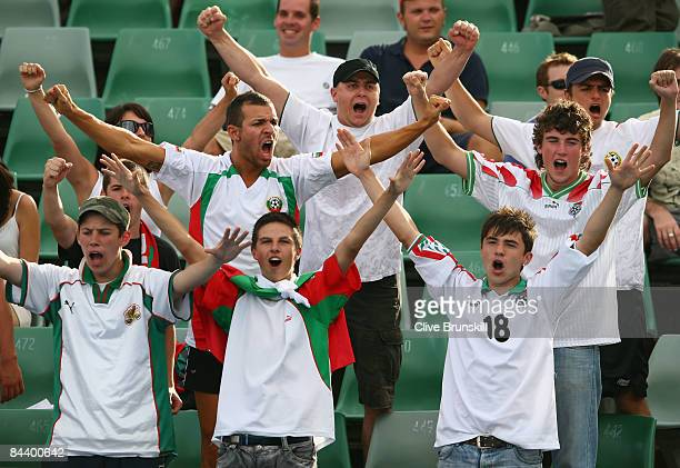 Bulgarian fans show their support during the second round match between Sesil Karatantcheva of Bulgaria and Shuai Peng of China during day four of...