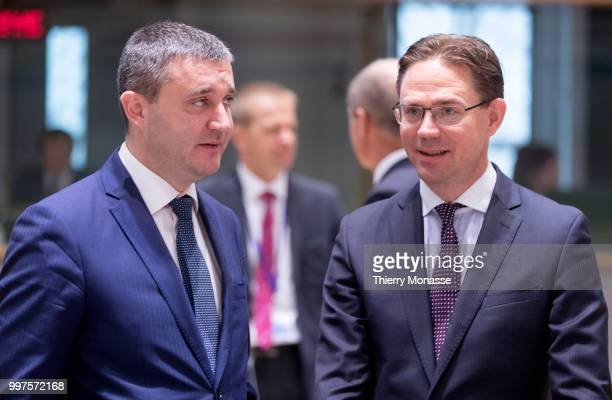 BRUSSELS BELGIUM JULY 13 Bulgarian Finance Minister Vladislav Goranov is talking with the EU Jobs Growth Investment and Competitiveness Commissioner...