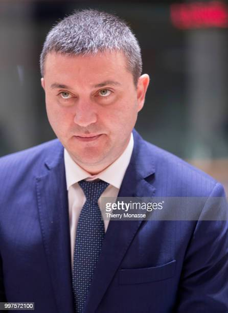 BRUSSELS BELGIUM JULY 13 Bulgarian Finance Minister Vladislav Goranov is waiting for the start of an EU EcoFin Ministers meeting at the Europa...