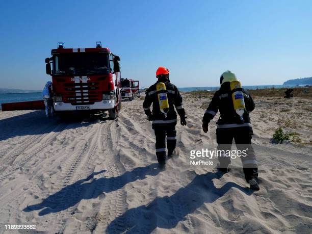 Bulgarian Firefighters, Civil defence guards, Navy forces air traffic control employers and other perssonel take part in a airplane crash disaster...