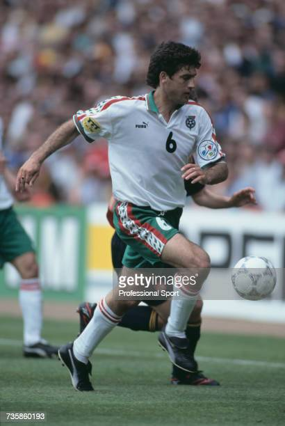 Bulgarian footballer and midfielder with the Bulgaria national team, Zlatko Yankov pictured making a run with the ball during the group B match...