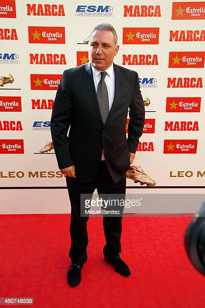 Bulgarian former football player Hristo Stoichkov attends the Golden Boot 2013 award presented to Europes best goal scorer for Lionel Messi of the...