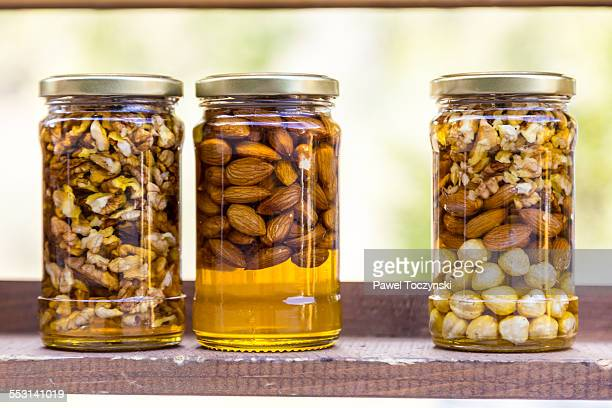 Bulgarian honey jars filled with nuts