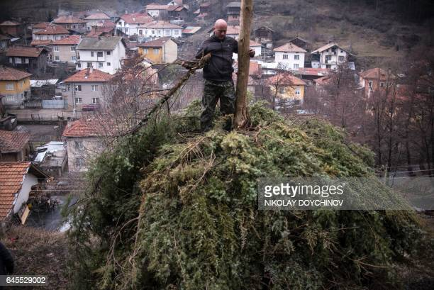 Bulgarian men prepare a pile of tires and tree branches for a ritual bonfire near the village of Belitsa, in south-western Bulgaria, on February 26,...