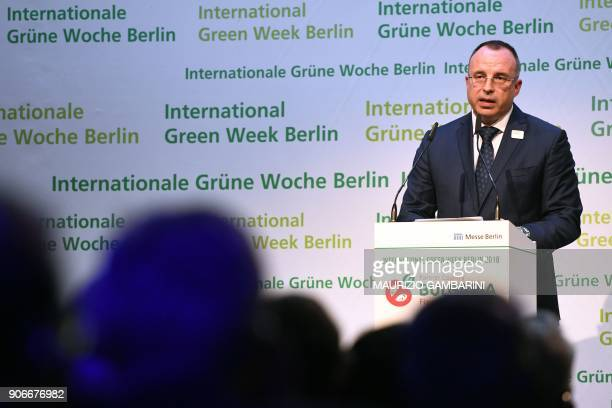 Bulgarian Minister of Agriculture Food and Forestry gives a speech during the launching ceremony of the International Green Week agricultural fair in...
