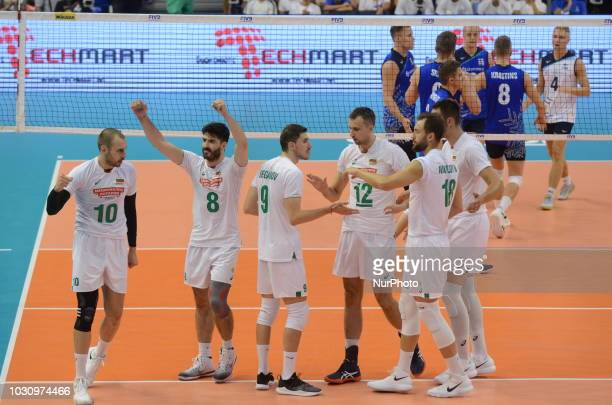 Bulgarian national team celebrates after score a point, during Bulgaria vs Finland, pool D, during 2018 FIVB Volleyball Men's World Championship...