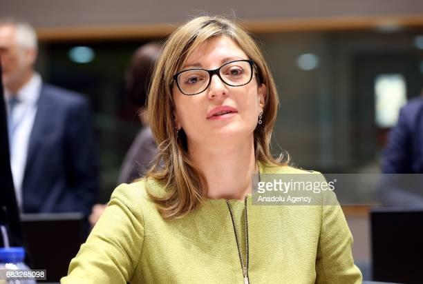 Bulgarian new Foreign Minister Ekaterina Zaharieva attends the EU Foreign Affairs Ministers meeting at the EU headquarters in Belgium Brussels on May...