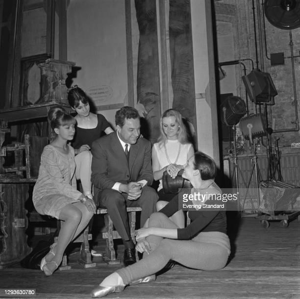 Bulgarian opera singer Boris Christoff with Virginia Wakelyn, Janet Francis, Gail Thomas and Jane Landon of the Royal Ballet, at the Royal Opera...