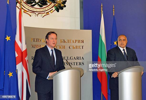 Bulgarian Prime Minister Boyko Borisov and British Prime Minister David Cameron attend a press conference after a meeting in Sofia Bulgaria on...