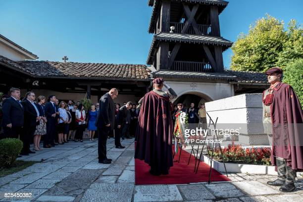 Bulgarian Prime Minister Boyko Borisov and his Macedonian counterpart Zoran Zaev pay respect in front of the grave of Goce Delcev in the St Spas...