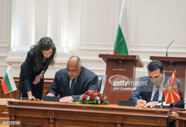 Bulgarian Prime Minister Boyko Borisov and Macedonian Prime Minister Zoran Zaev are pictured during the official signing ceremony of the Neighborhood...