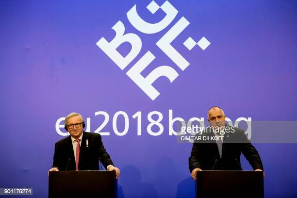 Bulgarian Prime Minister Boyko Borisov and the President of the European Commission JeanClaude Juncker talk during a press conference on January 12...