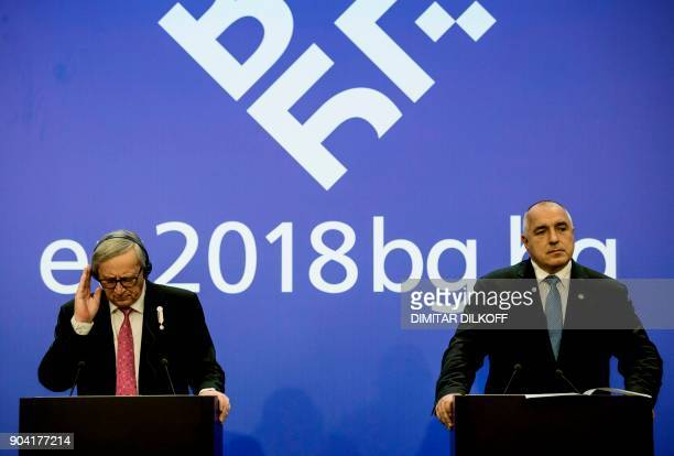 Bulgarian Prime Minister Boyko Borisov and the President of the European Commission JeanClaude Juncker give a press conference on January 12 2018 in...
