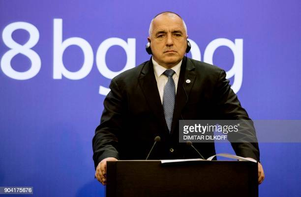 Bulgarian Prime Minister Boyko Borisov attends a press conference with the President of the European Commission on January 12 2018 in Sofia Juncker...