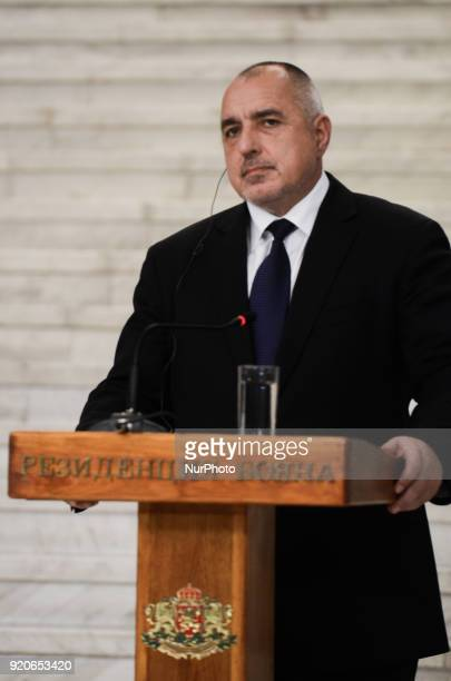 Bulgarian prime minister Boyko Borisov during press conference with the Hungarian Prime Minister Viktor Orban following a bilateral governmental...