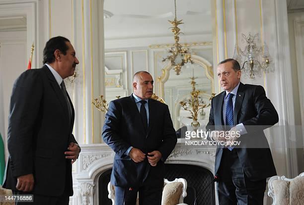 Bulgarian Prime Minister Boyko Borisov speaks with Turkish Prime Minister Recep Tayyip Erdogan and Qatari counterpart Sheikh Hamad bin Jassem AlThani...