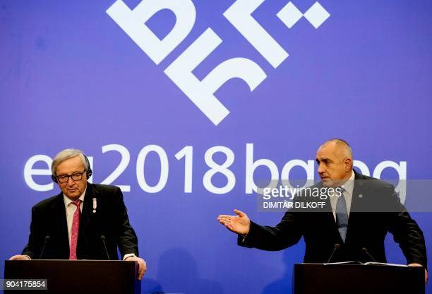 Bulgarian Prime Minister Boyko Borisov talks to the President of the European Commission JeanClaude Juncker during a press conference on January 12...