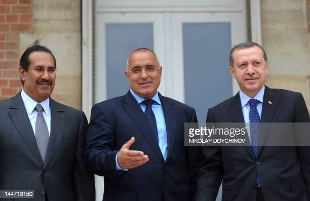 Bulgarian Prime Minister Boyko Borisov Turkish Prime Minister Recep Tayyip Erdogan and Qatari counterpart Sheikh Hamad bin Jassem AlThani pose for a...