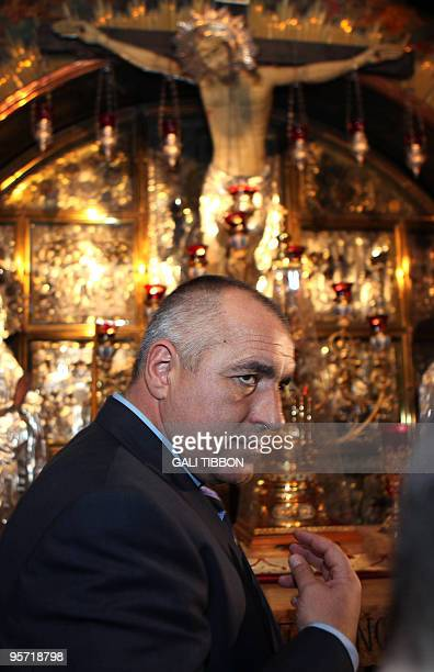 Bulgarian Prime Minister Boyko Borissov visits the Golgotha in the Church of the Holy Sepulchre in Jerusalem's Old City on January 12 2010 Christians...