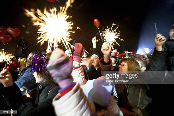 Bulgarian revellers welcome the new year and accession to the EU on January 1 2007 in Sofia Bulgaria Bulgaria and Romania joined European Union with...