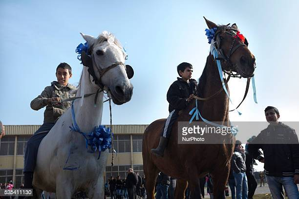 Bulgarian Roma celebrate Horse Easter in the Fakulteta neighborhood of Sofia on February 28 2015 Every year on St Todor's day horse enthusiasts...