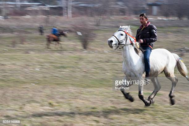 Bulgarian Roma race during Horse Easter in the Fakulteta neighborhood of Sofia on February 28 2015 Every year on St Todor's day horse enthusiasts...