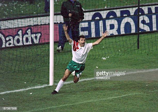 Bulgarian soccer player Hristo Stoichkov celebrates during a qualification match for the world cup 1994 between France and Bulgaria on November 17...