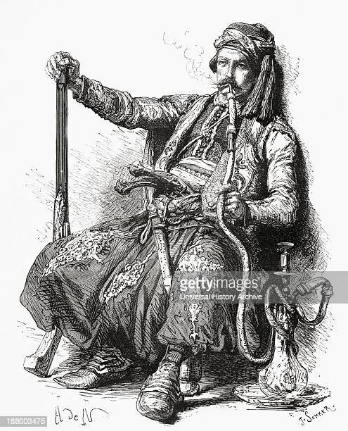 A Bulgarian Soldier Smoking A Hookah In The 19Th Century From El Mundo En La Mano Published 1875