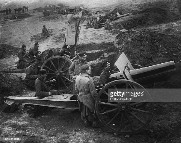 Bulgarian soldiers prepare for the enemy with heavy artillery and wait in readiness for the siege of Adrianople in west Turkey during the Balkan Wars...