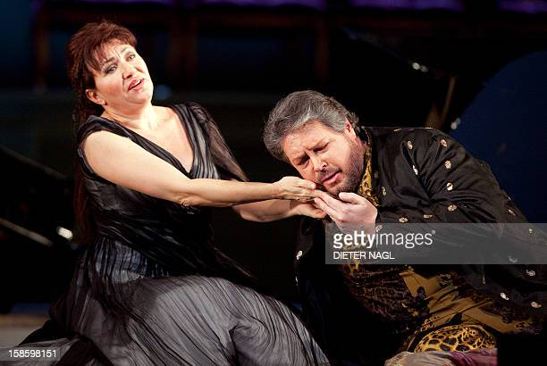 Bulgarian soprano Krassimira Stoyanova as Ariadne and US tenor Stephen Gould as Bacchus perform at the general rehearsal of a new production of the...